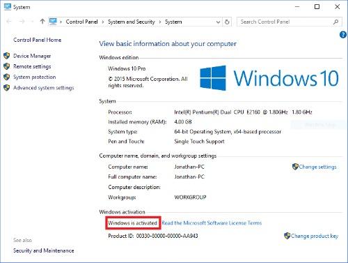 Licence activée sur Windows 10