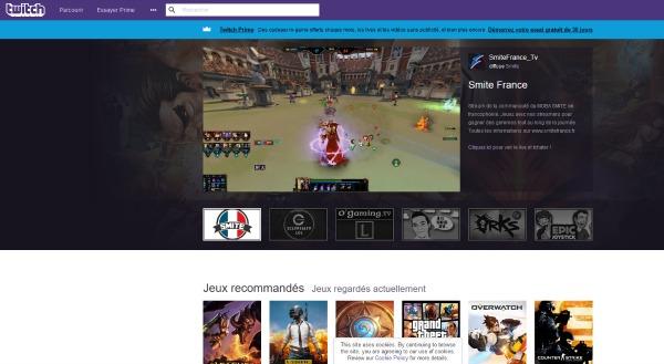 Page d'accueil de Twitch TV