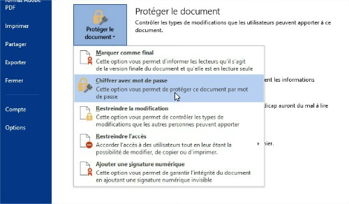 Chiffrer un document Word par mot de passe