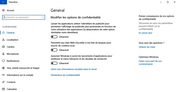 Options de confidentialité Windows 10