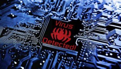 image représentant un ordinateur avec l'inscription Virus detected