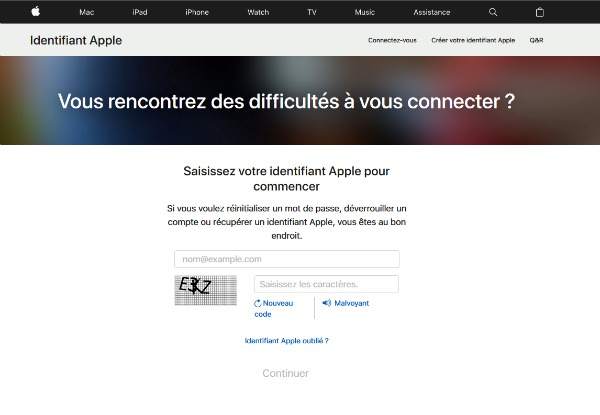 image du site Identifiant Apple