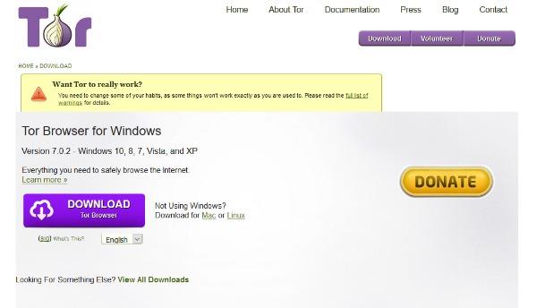 Le site du navigateur Tor