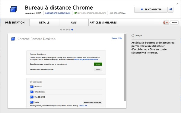 Bureau à distance Google Chrome