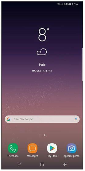 L'écran d'accueil par défaut du Galaxy S8