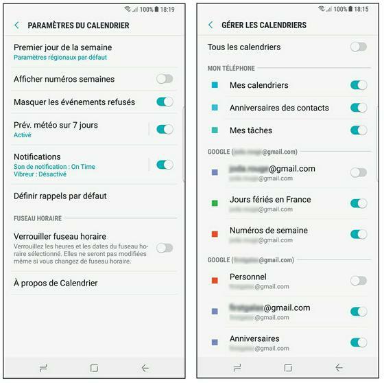 L'application Calendrier et ses paramètres