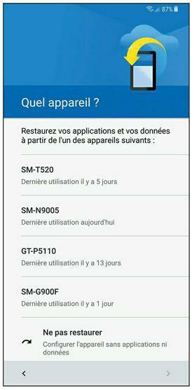 Restaurer données et applications à partir d'un autre smartphone ou d'une tablette