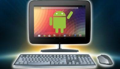 Image représentant un ordinateur avec le bonhomme Android sur l'écran