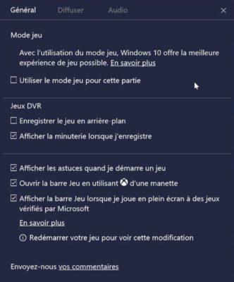 Activation de certains paramètres pour le mode jeu sous Windows 10