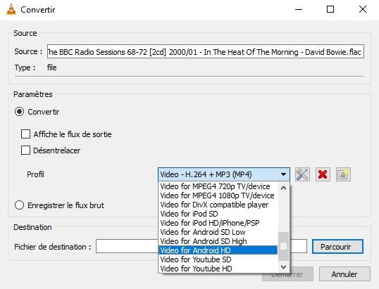 Convertir un fichier flac en mp3 avec vlc