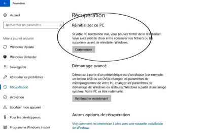 Réinstaller Windows en conservant ses fichiers (Windows 10)