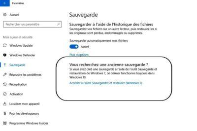 outil Sauvegarder et restaurer Windows 7