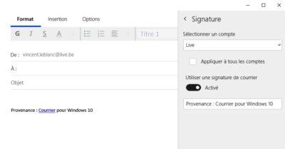 Personnaliser la signature dans courrier