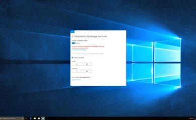 Windows10 et l'affichage nocturne