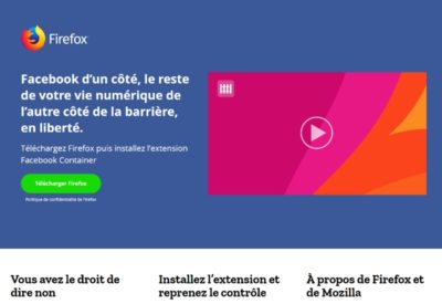 Extension Facebook container pour Firefox