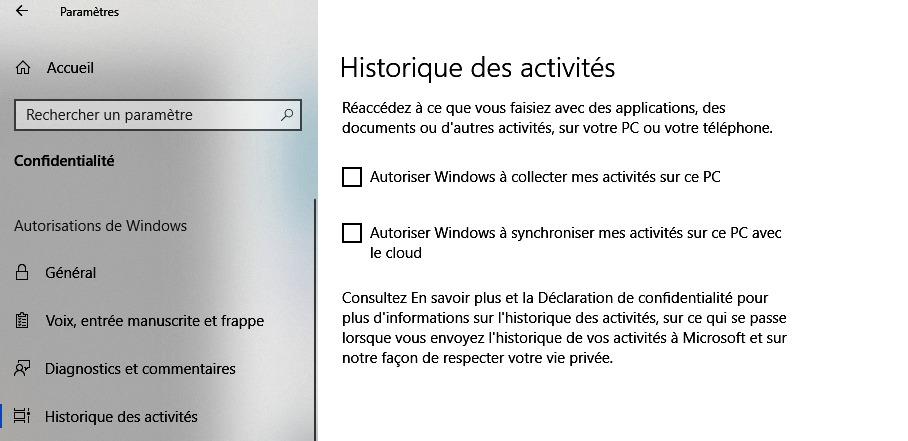 Désactiver la fonction Historique des activités sous Windows 10