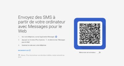 Qr code du site web android messages