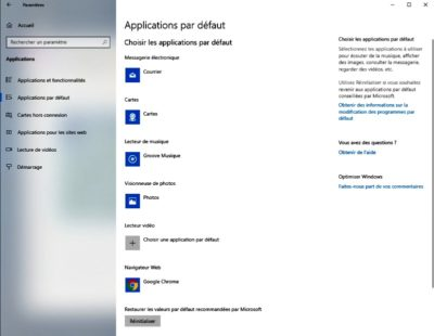 Applications par défaut Windows 10