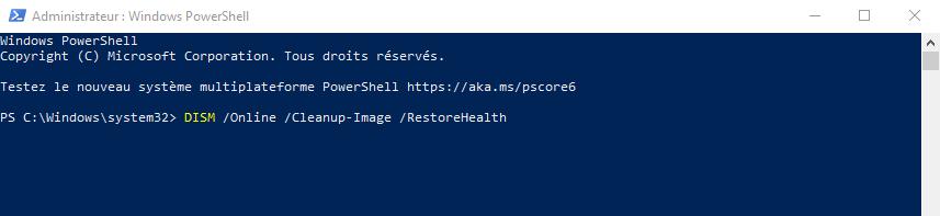 Invite de commande powershell windows pour réparer l'image système