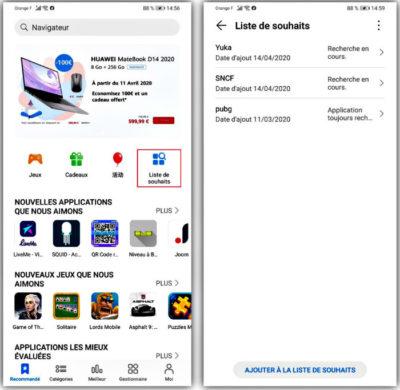 Liste de souhaits Huawei